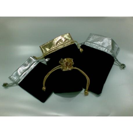 Sacchetto velluto con lamina oro/argento
